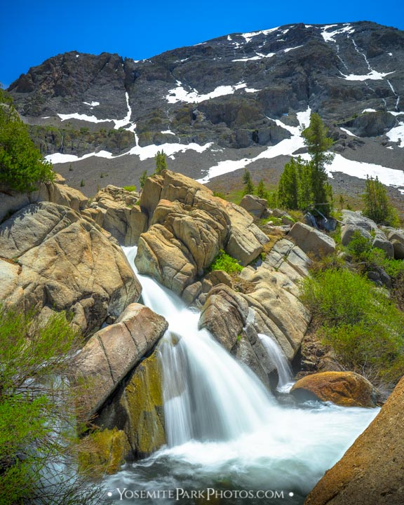 Snowmelt, thundering over the rocks at Deadman Creek  - Sonora Pass Waterfalls