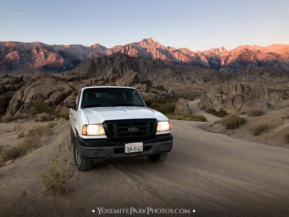Truck parked at the Alabama Hills, with sunrise on Mt. Whitney - Best Sierra road trips