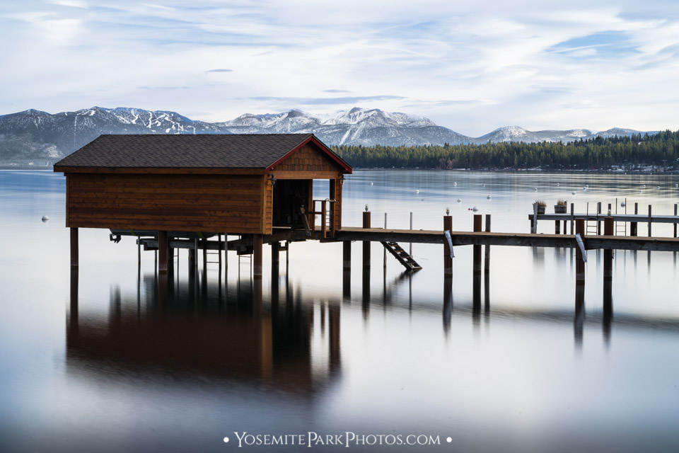 South Lake Tahoe Boathouse - Long Exposure with December snow - High Sierra Photos