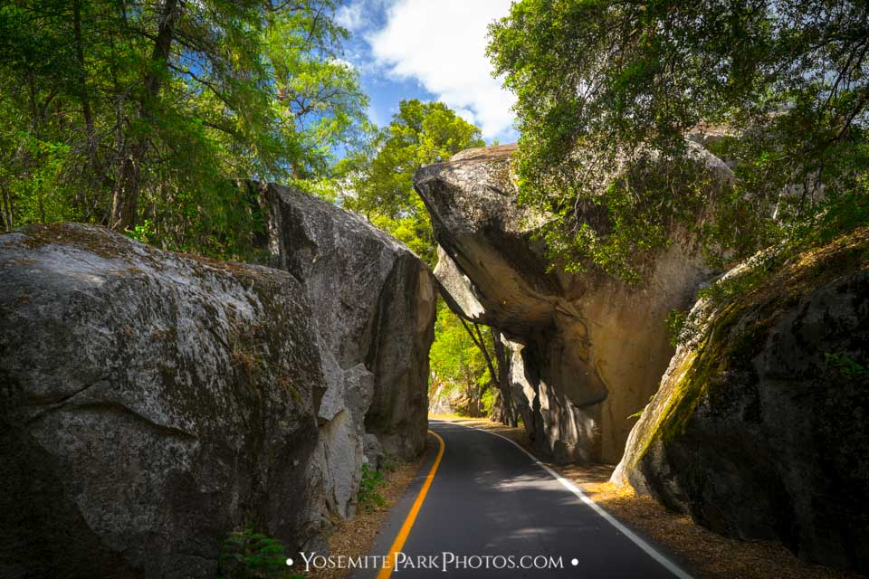 Highway 140 passing through Yosemite's iconic granite cave - Arch Rock Entrance photos