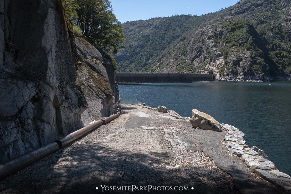 Boat launch and O'Shaughnessy Dam ahead