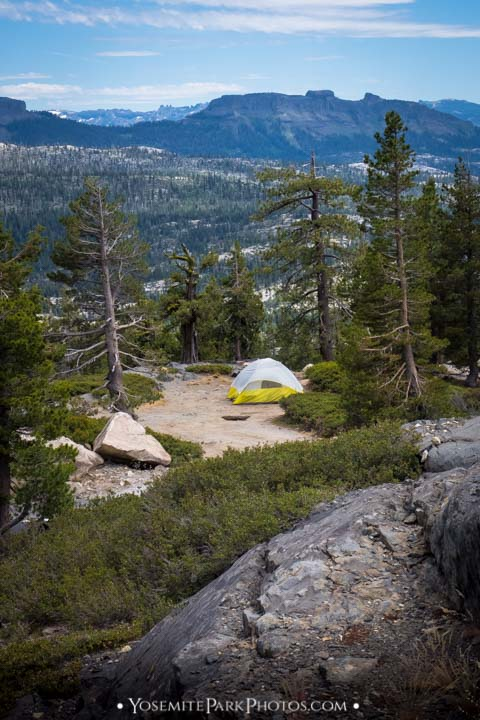 Tent campsite overlooking Sierra view off HWY 4 - Stanislaus National Forest