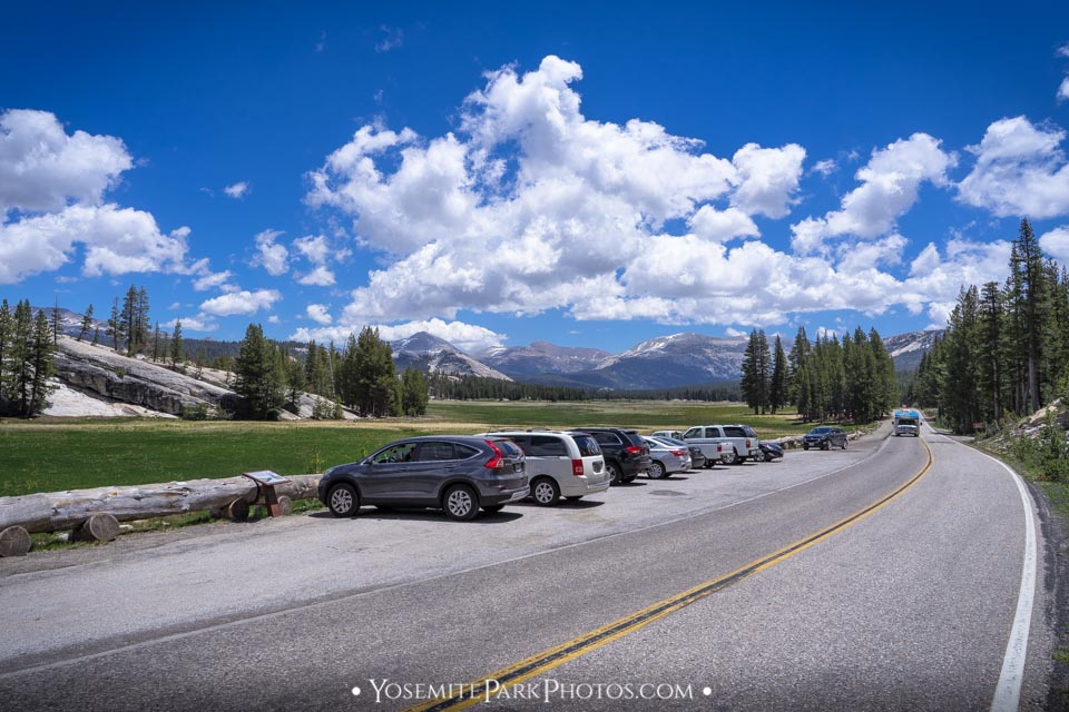 Tourist cars parked at the meadow, on 120 - Tuolumne Meadows photos
