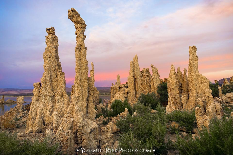 Limestone + Calcite Tufas at dusk - Mono Lake photos