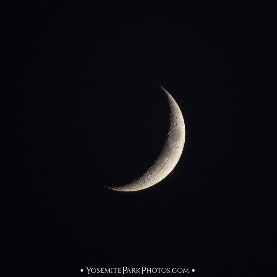 Waxing crescent phase - Yosemite full moon photos