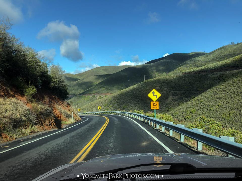 Windy turns while driving Old Priest Grade Road