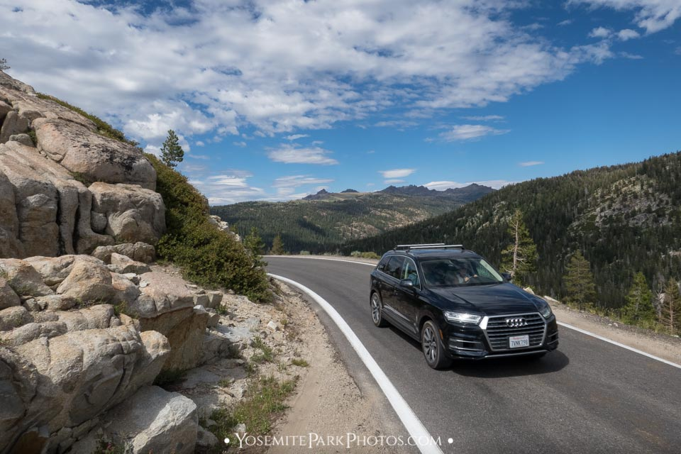 Audi tourist wagon driving on HWY4 Mountain Road