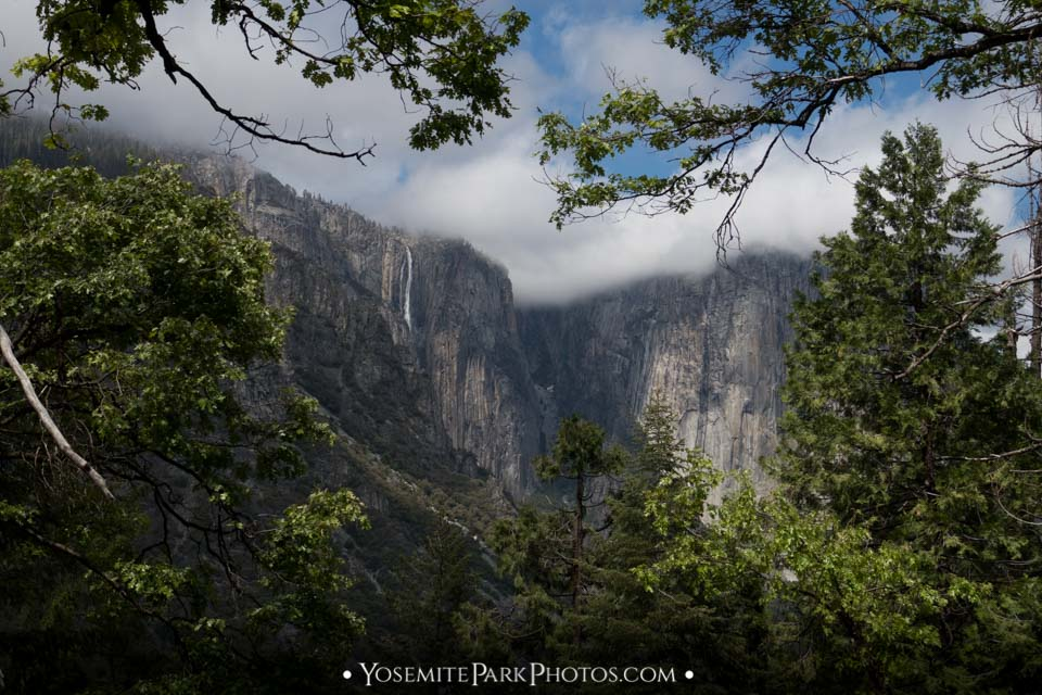 Ribbon Fall and El Capitan shrouded in clouds and fog, from Inspiration Point