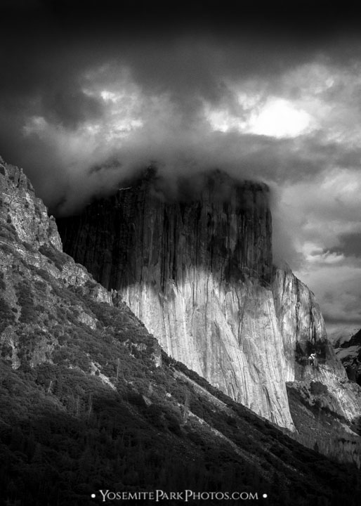 Dark, menacing clouds over El Capitan - Black and White portrait