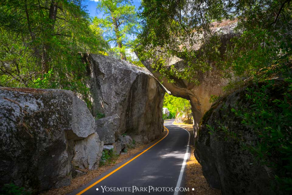 Boulder rock overhang along the road