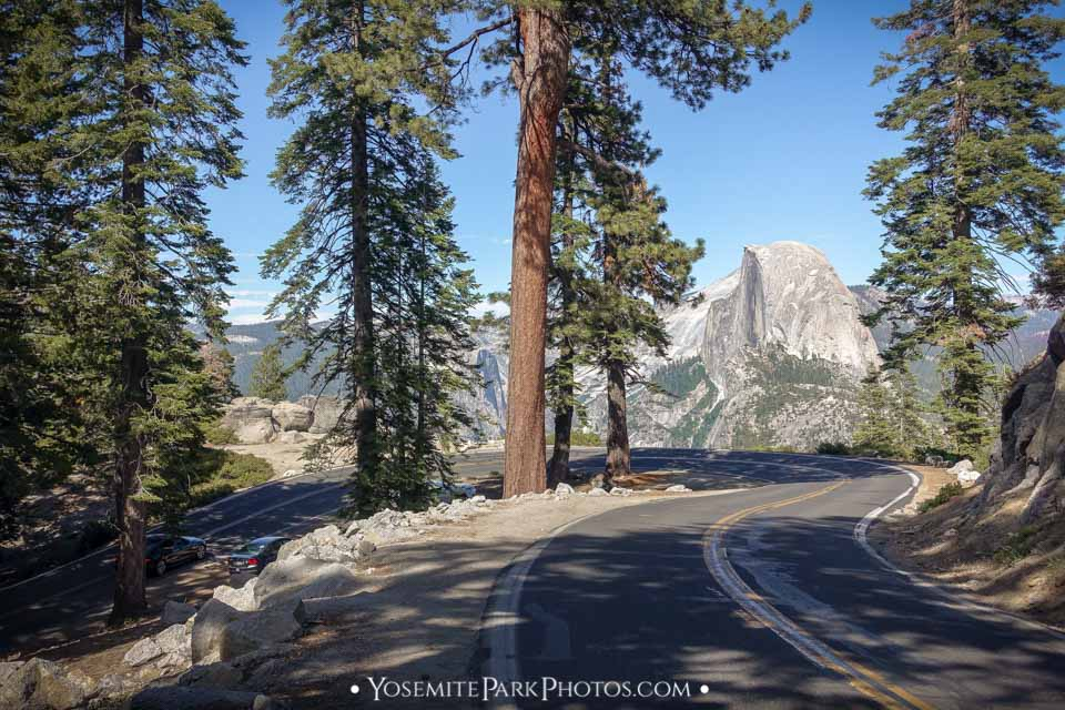 Sharp curve and Half Dome view - Glacier Point Road Photos