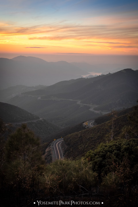 Highway 120 foothills, sunset portrait - Best Sierra Sunsets