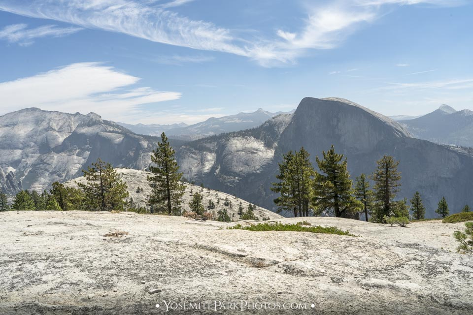 North Dome Photos - Bare granite rock landscapes with Half Dome Views