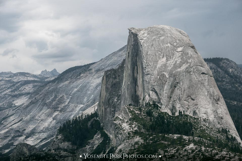 Side view closeup, from Glacier Point Road - Half Dome Photos