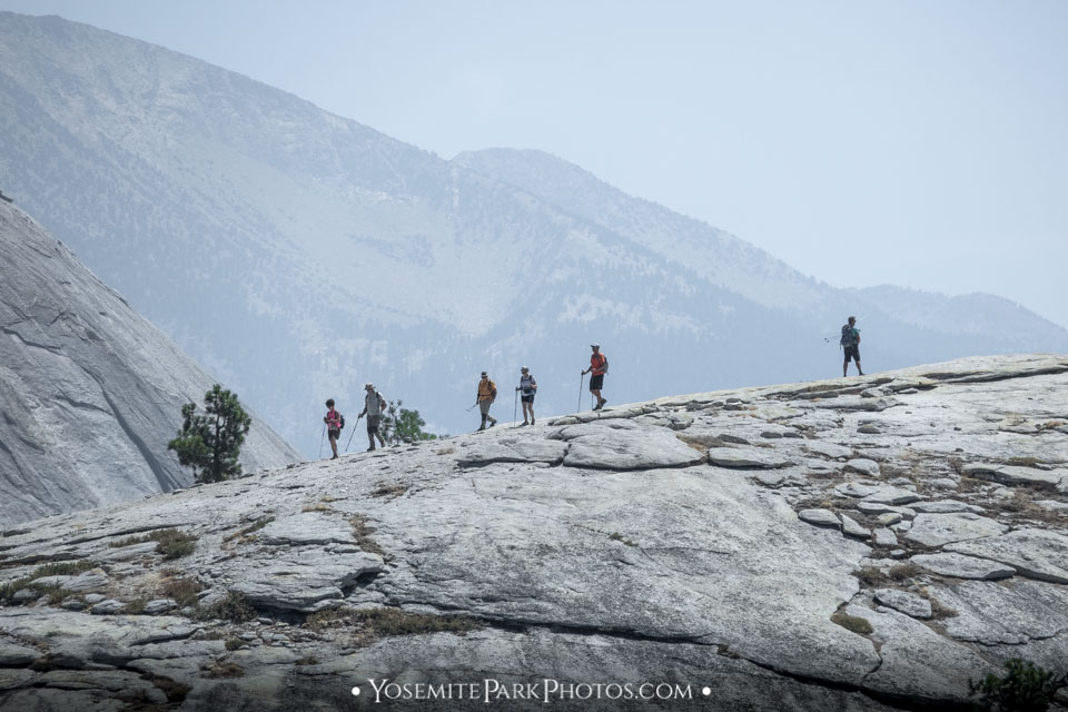 Group of backcountry hikers trekking to Half Dome - Yosemite Hikers