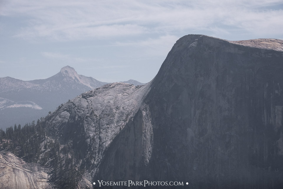 """Zoomed in view of """"the lip"""", taken from North Dome hike. Also note Mt Clark in the distance."""