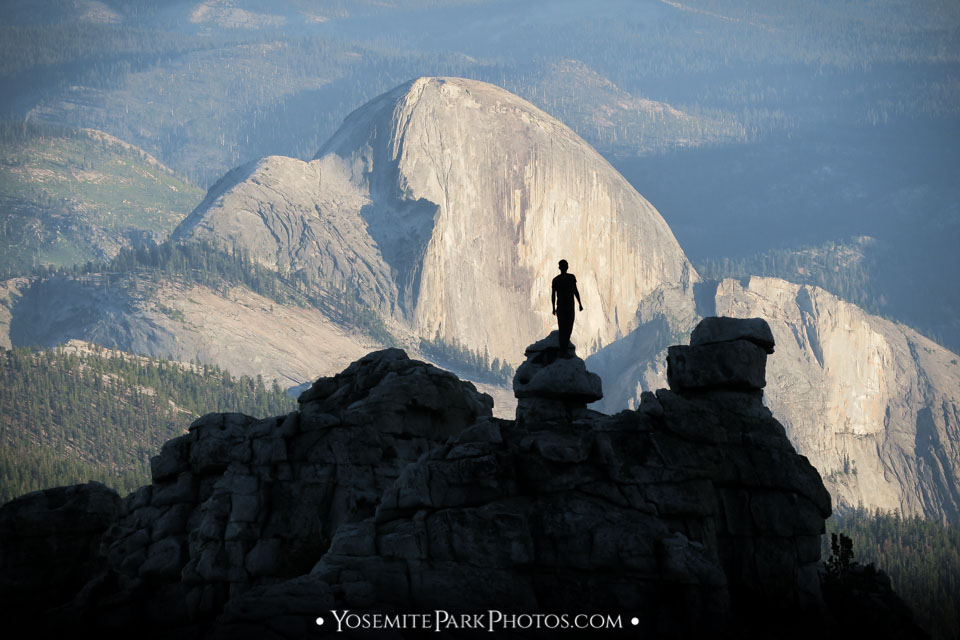 Tourist Silhouette With Half Dome in late afternoon light - From Mt. Hoffman trail