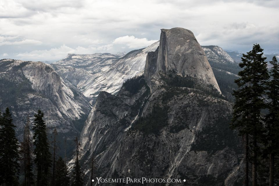 Side view landscape, with granite Yosemite valley