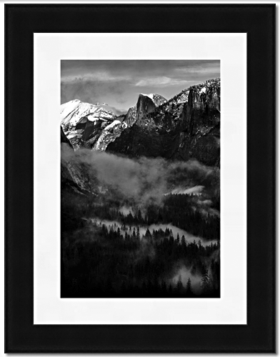 Half Dome & Valley - Portrait Orientation, B&W Frame