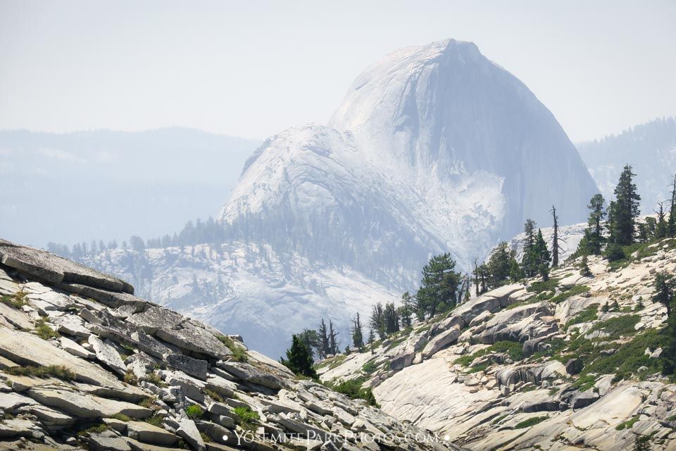 Unique view, zoomed in on granite above Olmsted Point - Half Dome Photos