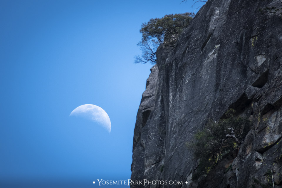 First quarter moon rising by cliff - Yosemite full moon photos
