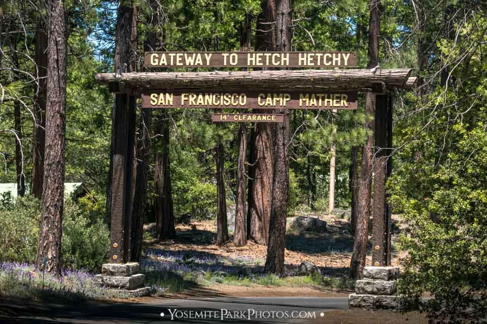 """Arch Entry Sign reading """"Gateway To Hetch Hetchy"""""""