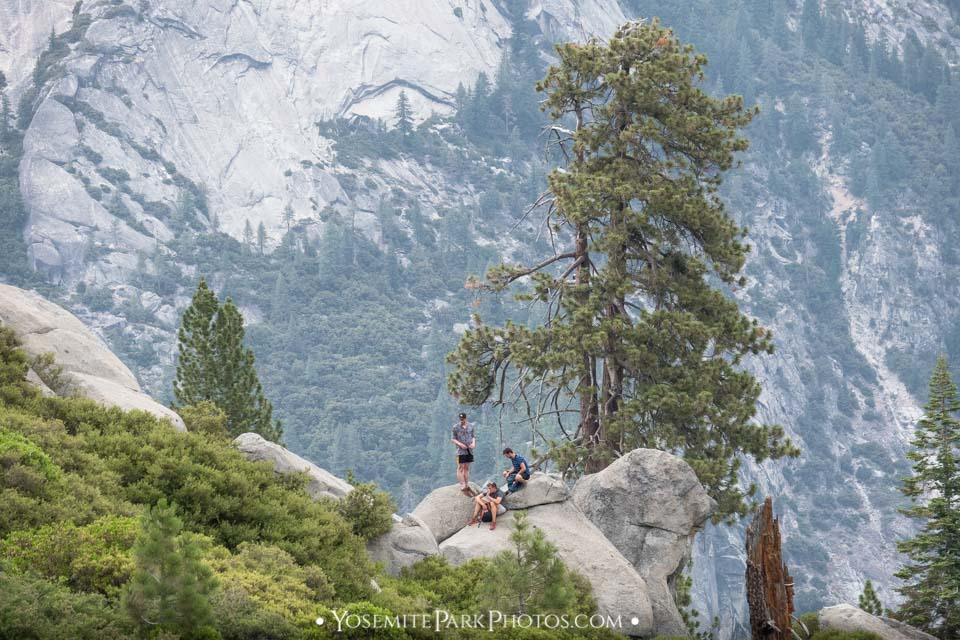Young climbers at rocky glacier point, along Panorama Trail