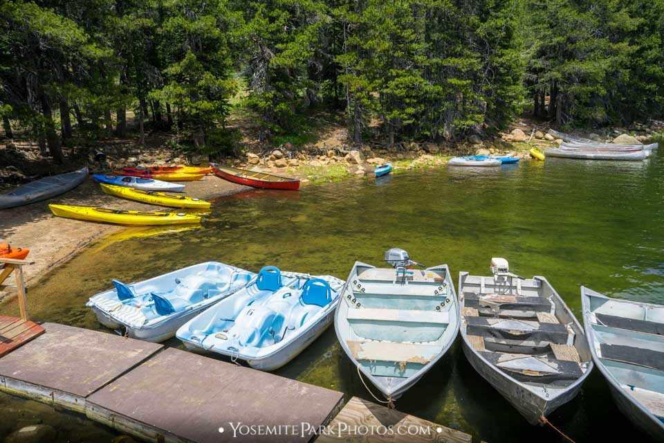 Colorful Tourist Boats, Docked at Shore - Lake Alpine photos