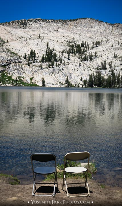 Chairs at the lakeside, for couples or friends