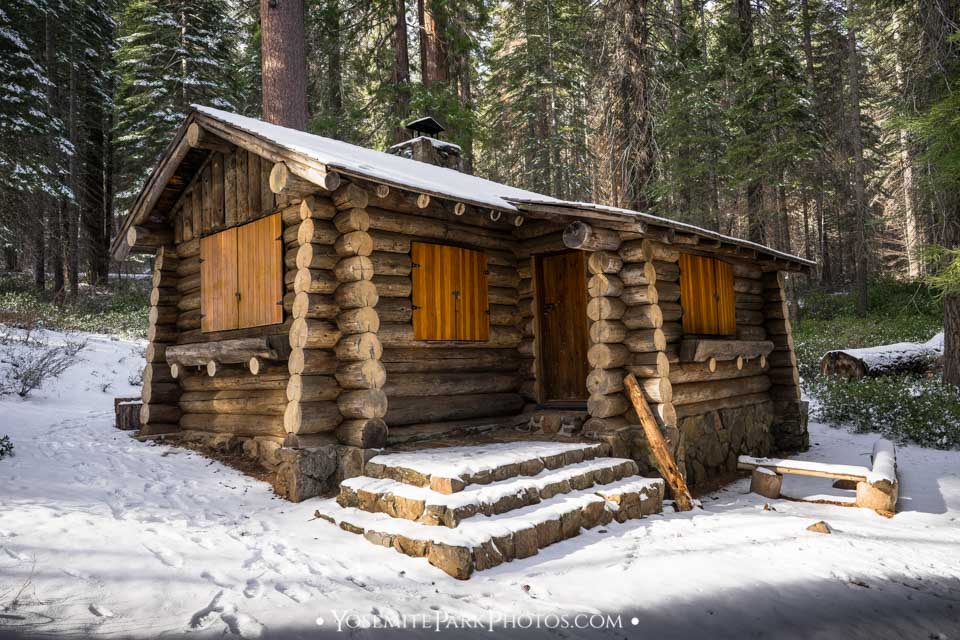 Superintendent's log cabin in the snow - Merced Grove photos