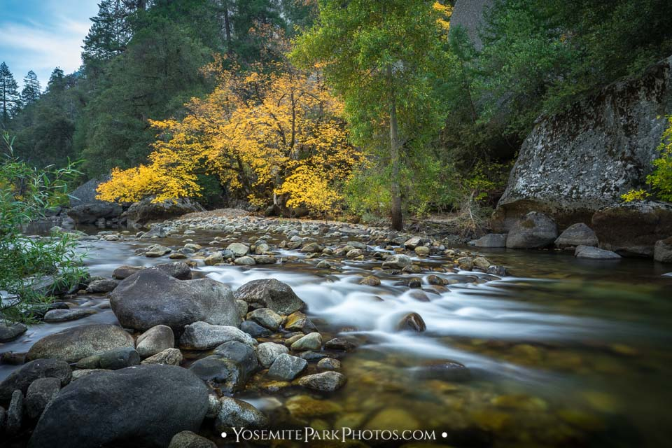 Smooth flowing Autumn scene, long exposure - Merced River photos