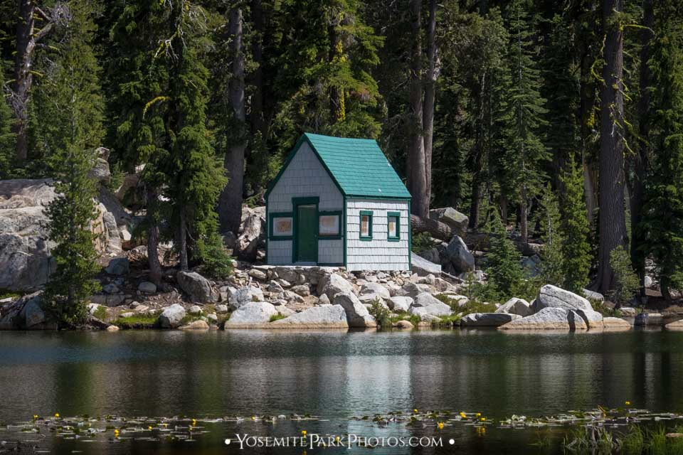 Cabin on rocky shore at Mosquito Lakes - Ebbetts Pass Photos