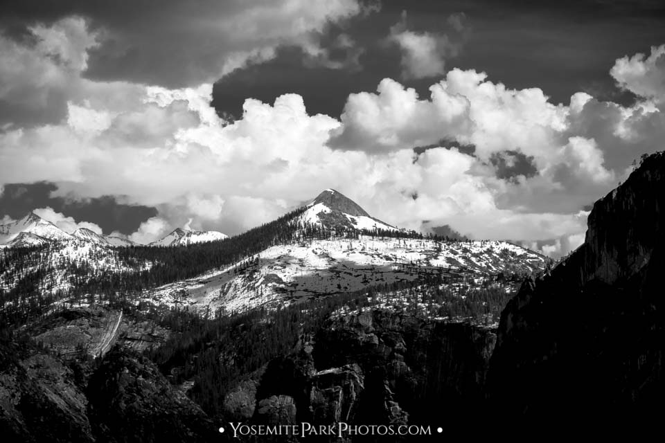 Mount Starr King & Puffy Clouds - Black and white in May - Yosemite mountain peaks