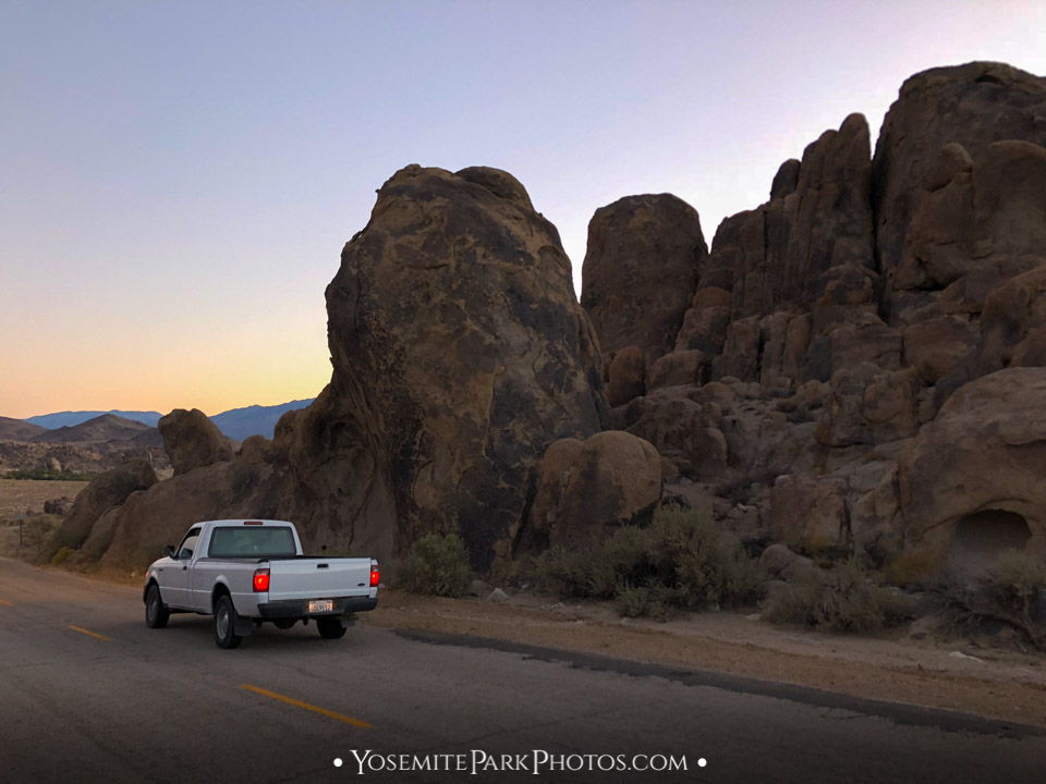 "Truck parked with rock formation at ""Movie Road"" in the Alabama Hills - Lone Pine, California"