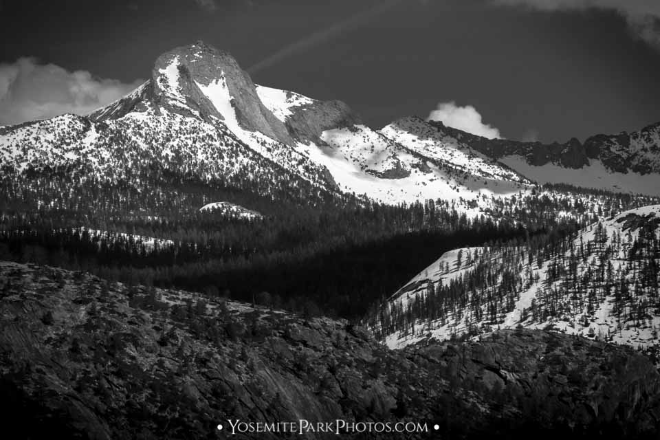 Prominent Crest of Mount Clark, cropped from Yosemite Point - Black and White - Yosemite Mountain Peaks