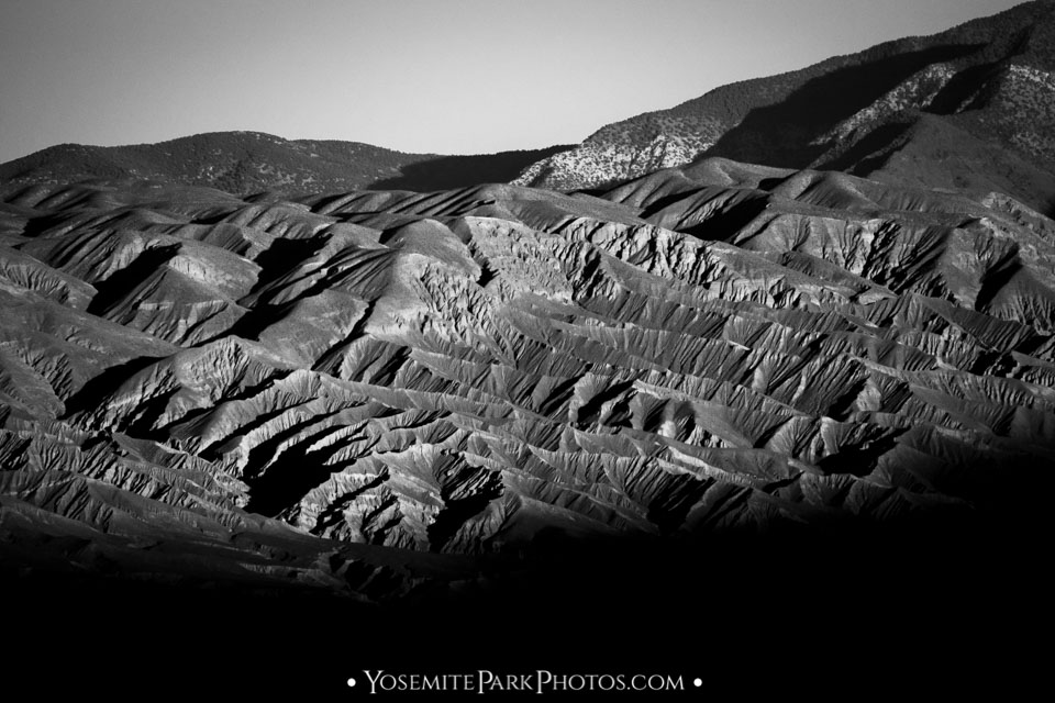 Black and white contrast ridges in Panamint range mountains, near Telescope Peak.