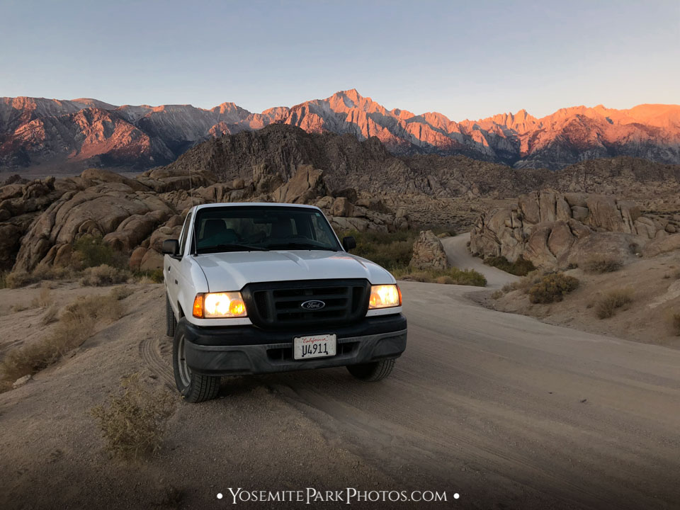 Parked on Dirt Road with Mt. Whitney Sunrise - Lone Pine
