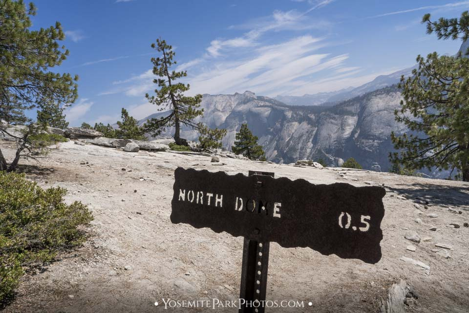 North Dome Trail Sign - North Dome hike photos