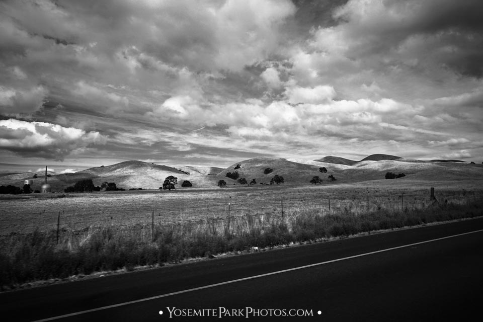 Rolling Hills of California, Black and White - East of Oakdale, near Jamestown
