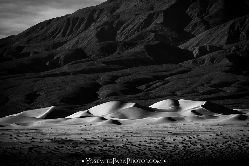 Black and White high contrast on the Panamint Dunes- HWY 395 Road Trip