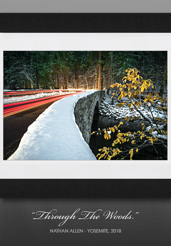 Yosemite wall art closeup, on gray wall background