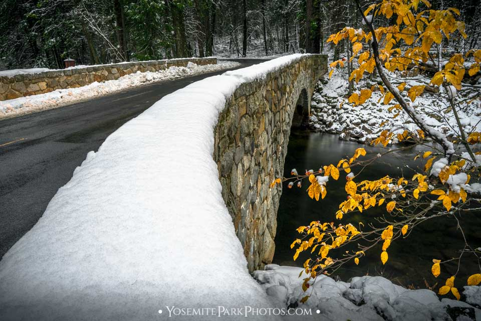 Pohono Bridge Photos - Winter snow on road