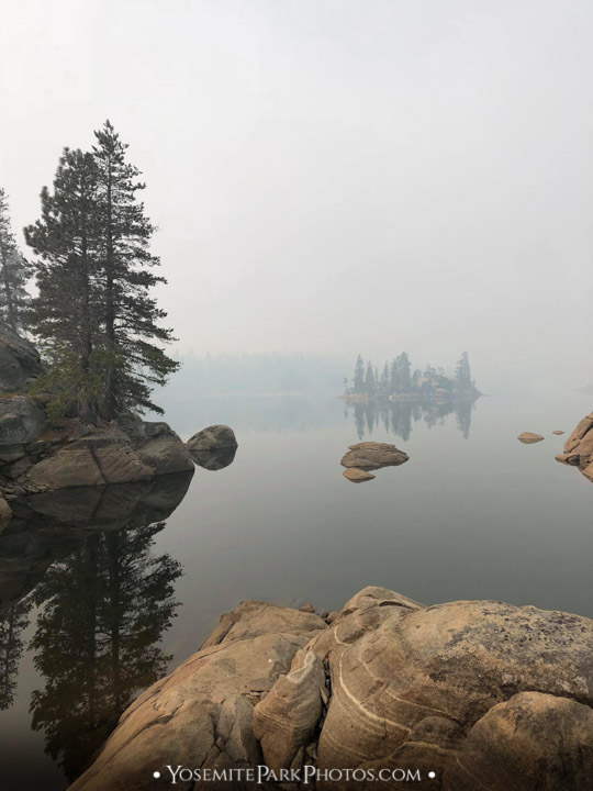 Smoky Union Lake in the Sierra, during wildfire