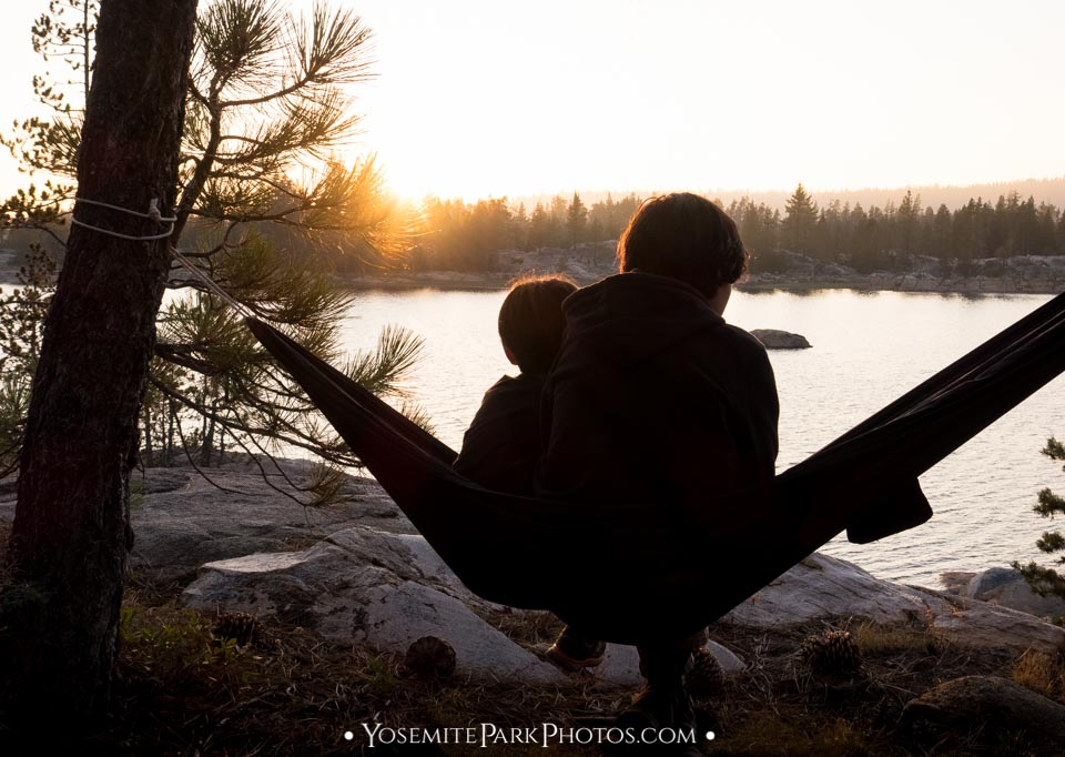 Campers in hammock, a sunset silhouette - Union Reservoir Photos