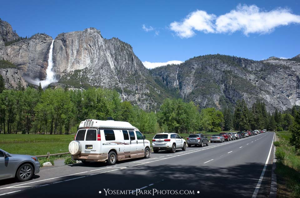 Cars Parked on the Roadside, with Waterfall View - Yosemite cars & traffic