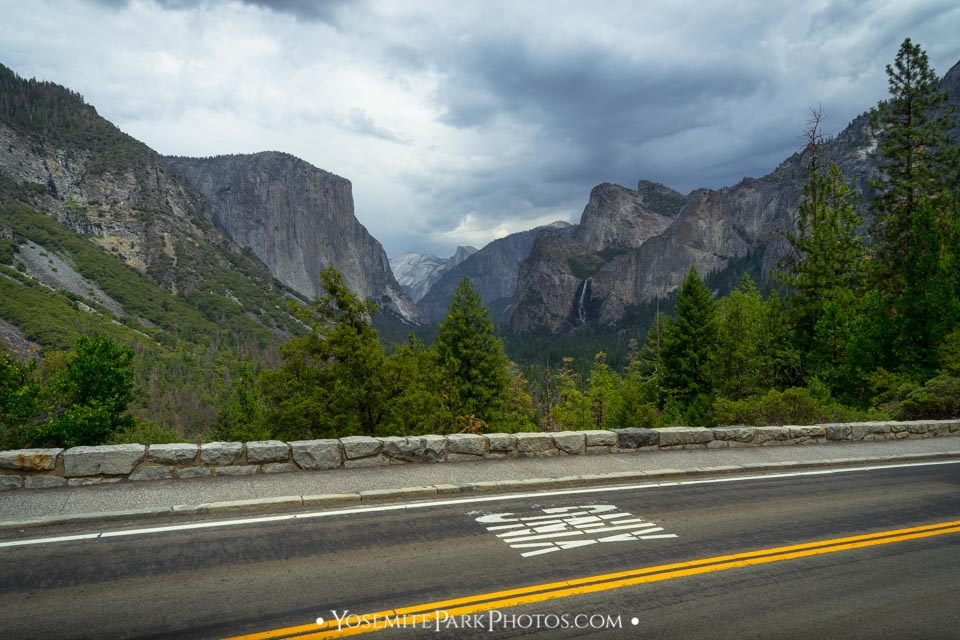 Highway 41 (Wawona Rd) and dried up waterfall view