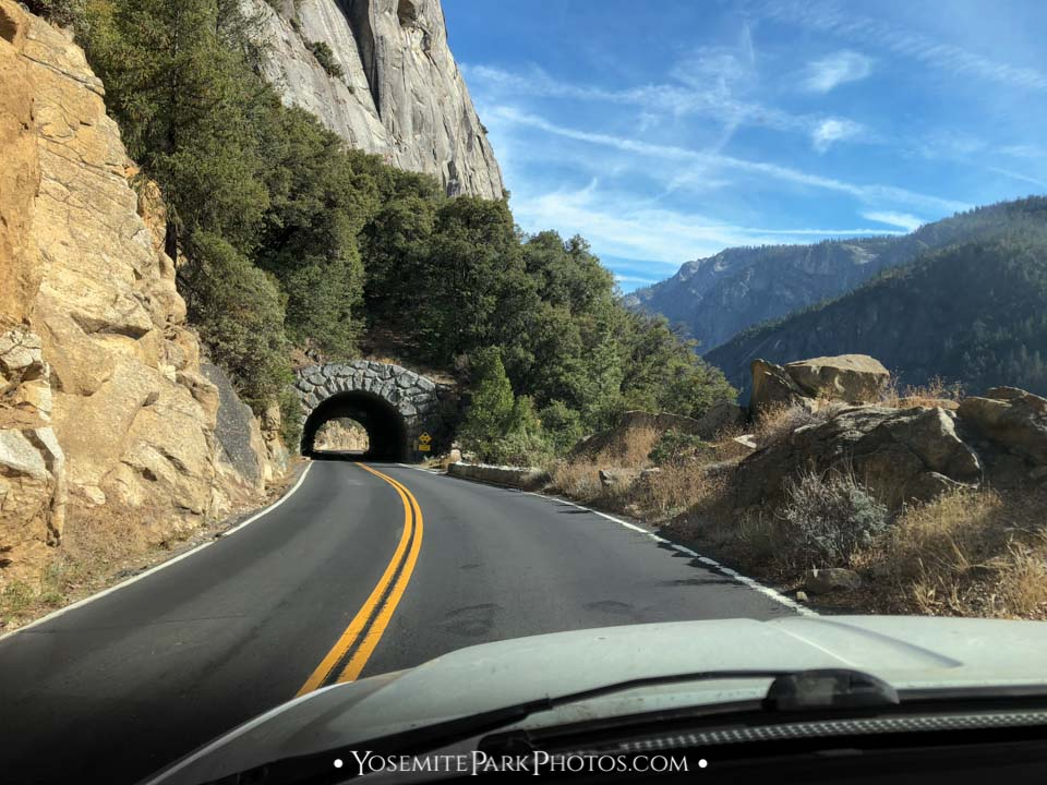 The shorter (and more scenic) mountainside tunnel on SR120 to Yosemite