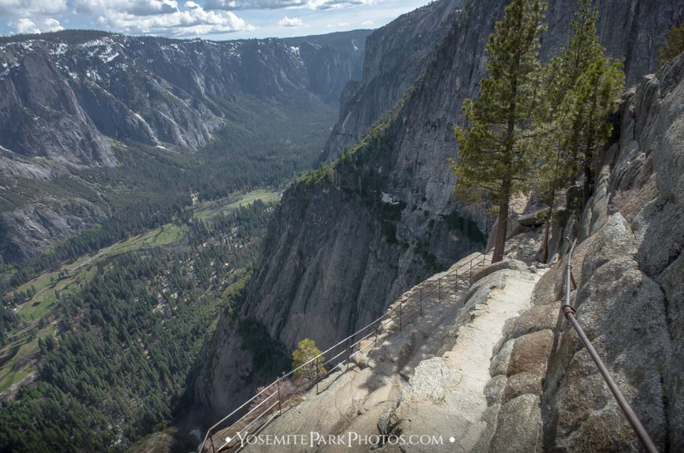 Handrail and trail views on Upper Yosemite Falls hike