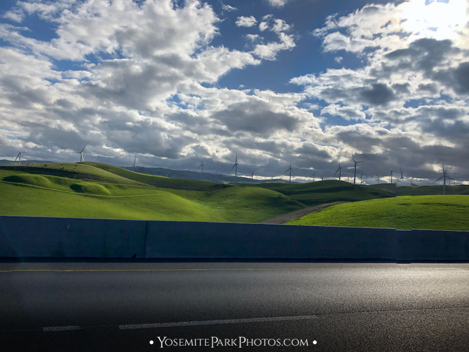 Wind farm on the green hills of Altamont Pass - Highway 580