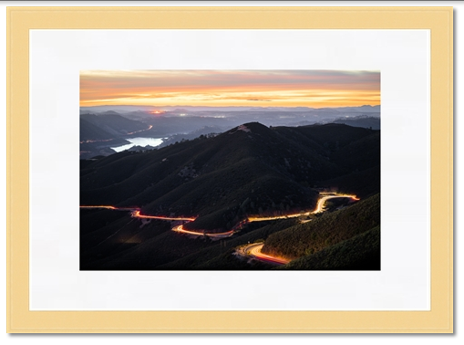Light wood and thick photo mat option for this sunset image - Yosemite framed prints